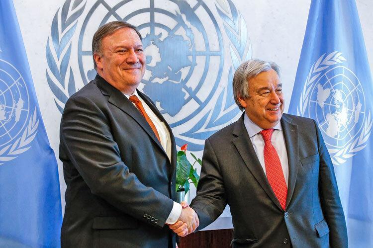 آخرین کوشش آمریکا برای تحریم ایران ، ملاقات پمپئو با دبیر کل سازمان ملل و شکایت به شورای امنیت